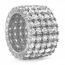7 Carat White Diamonds Men's Ring 5 Row Prong Setting 10K WG Celebrity ASAAR