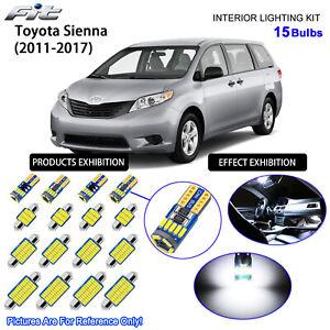 15 Bulbs LED Interior Dome Light Xenon White  Kit For Toyota Sienna 2011-2017