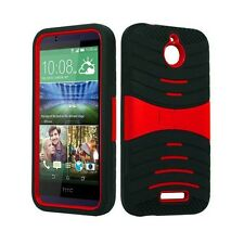 HTC Desire 510 U Case BLACK RED Built In Stand WITH SCREEN PROTECTOR