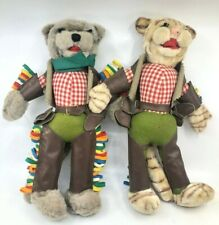 Pair of Vintage Italy Hand Made Sawdust Stuffed Cat Cowboy Dolls Incredible
