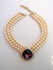VTG YSL Yves Saint Laurent Runway Statement Multi Strand Pearl Necklace Stones