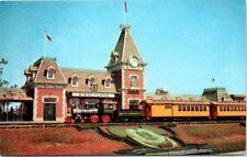 Postcard California CA Disneyland Disney Anaheim Santa Fe Railroad station RR
