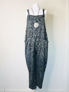 Made In Italy Lagenlook Grey Animal Print Dungarees - UK Size 12 14 16