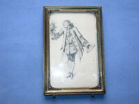 Antique Print of 18th Century Etching -Man Courting With Flowers- In Gold Frame