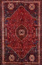 Vegetable Dye Vintage Geometric Tribal Abadeh Oriental Area Rug Red Carpet 7x10