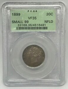 Canadian 1899 Newfoundland Twenty Cents Graded by PCGS VF-35 with Small 99