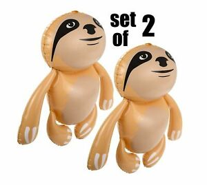 """(Set of 2) 24"""" Tan Sloths -  Monkey Inflatable - Inflate Up Toy Party Decoration"""