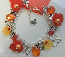 Butterfly charm bracelet silver plated red orange hand made 7.5in gift