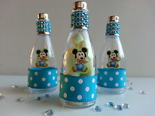 12 Mickey Mouse Fillable Champagne Bottles Baby Shower Favors Its a Boy Birthday