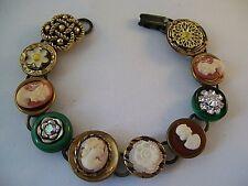 Vintage Button Bracelet 4 CAMEOS Rhinestones Hand Made OOAK Bling