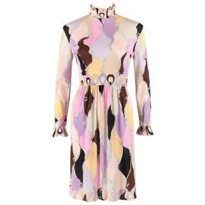 EMILIO PUCCI c.1960's Multicolor Pastel Abstract Diamond Print Mock Neck Dress