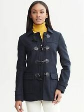 Banana Republic Women's Navy Wool Leather Toggle Coat Insulated Red Liner Small