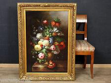OLIO dipinto anziano 110x80cm fasto natura morta in stile PLATINI fiori still Life