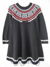 Hanna Andersson Sno Happy Fair Isle Twirl Sweater Dress Black 90 3t 3
