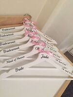 Personalised Wooden Wedding Dress Hangers - Bridal party - white