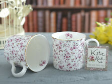 Set of 2 KATIE ALICE Ditsy White Floral BONE CHINA Shabby Chic MUGS w/ Gold Rim