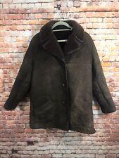Vintage Sheepskin Coat Jacket UK 10 Small Unisex English Delboy
