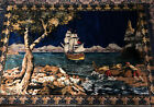 P & C Italy Trademark Welvet Fringed Wall Hanging Rich Colors Fishing Scene Nice
