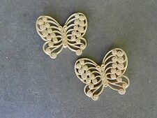 TWO 1978  Beige/Tan HOME INTERIOR BUTTERFLY WALL PLAQUES