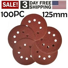 100pcs 5Inch 8 Hole Hook and Loop Sanding Discs Sandpaper 40,60,80,120,240