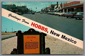 Postcard Hobbs NM c1970 Greetings From Hobbs New Mexico Dual View Old Cars Oil