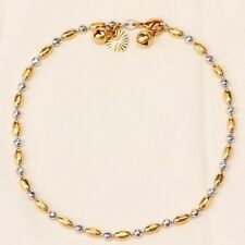 """9K 9ct White & Yellow """"Gold FILLED""""  Beaded ANKLE CHAIN Bell ANKLET 10.63""""  Gift"""