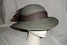 Vintage Betmar New York Gray Wool  Felt Women Fedora Hat With Flowered Band