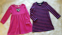 Gymboree (Lot of 2) Girl's Size 5T Dresses Pink Strip Knit Zebra Heart Stretch