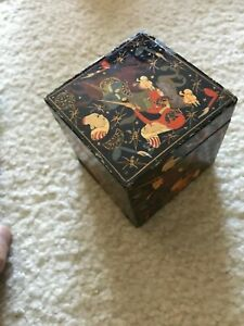 "Vintage Lacquered Islamic hue wooden incense square box (3""H)"