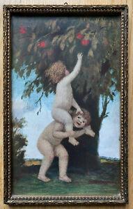 Ludwig Ritter von Zumbusch. Alter Druck mit Rahmen. Verbotene Früchte: 18x29 cm.
