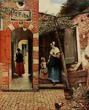 A4 photo HOOCH Peter de 1629 1684 Cour d'une maison Hollandaise histoire de la peinture 191