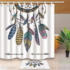Dreamcatcher Shower Curtain Bedroom Waterproof Fabric & bath mat 71*71inch new