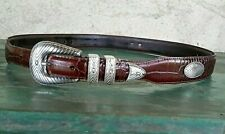 brown leather Fossil western Cowboy sz 36 belt