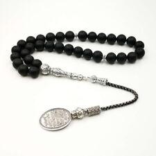 Tasbih Onyx muslim Rosary Historical writing Accessories 33 Black stone misbaha