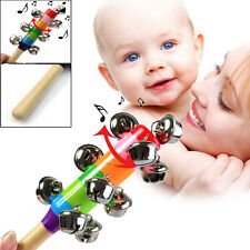 Rainbow Wooden 10 Bells Stick Baby Toy Pram Crib Handle Shaker Jingle Rattle Toy