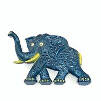 Vintage Libby Metal Elephant Earring Holder Blue With Googily Eyes