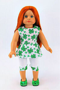 "3-PC ST PATRICK'S DAY OUTFIT 18"" DOLL CLOTHES Pants Top Shoes American Girl NEW!"