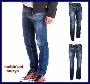 Jeans Meltin pot da uomo slim fit muzyo pantalone denim vita bassa gamba dritta