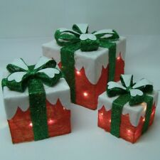Premier Set of 3 Lit Parcels Snow Covered Gift Bow Boxes Christmas Decorations