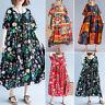 ZANZEA Women Vintage Retro Behemian Printed Kaftan Abaya Long Maxi Floral Dress