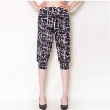 Lady Harem Tousers Ice Silk Elastic Bloomers Floral Capri Pants Shorts Plus size