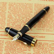 Black Jinhao X450 Fountain Pen Medium Nib Pens Luxury Gold Trim Stainless