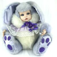 """Porcelain Baby Doll Purple Bunny Rabbit 14"""" Tall Plush Beautiful Weighs 4+ Lbs"""