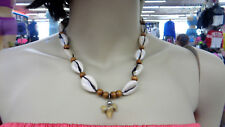 Unisex Surfer Style Shell Beads + Real Fossil Shark Tooth Necklace