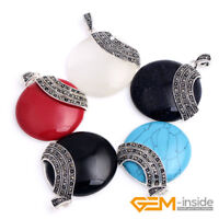 Tibetan Silver 36mm Coin Gemstone Pendant Bead Fashion Necklace 36x47mm Gift