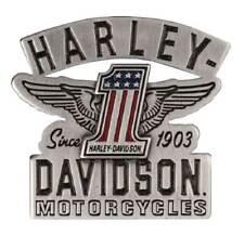 Pin w/ Enamel Fill, Silver P338063 Harley-Davidson 2D Die Cast Rwb #1 Wings