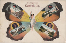 KEOKUK IOWA - 4 VIEWS OF DOWNTOWN / 1908 / MAIN ST + STEAMBOAT + more BUTTERFLY