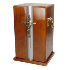 Mahogany Wood Casket With Gold Cross and Handles Funeral Ashes Urn
