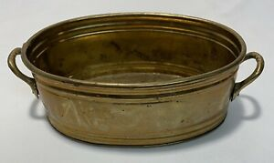 """Vintage MCM Solid Brass Oval Tray, Bowl, Candy Dish, Planter, Pot 8""""L x5.5""""Wx3""""D"""