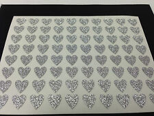 77 Sticky Adhesive Silver Heart Stickers - 8mm 4 Nail Art Wedding Cards Albums